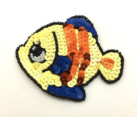 "Tropical Fish with Multi-Color Sequins and Beads  3.5"" x 2.75"""