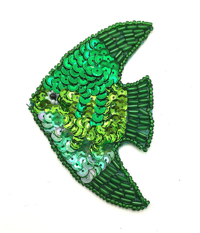 "Fish with Green Sequins and Beads  3.5"" x 2.75"""
