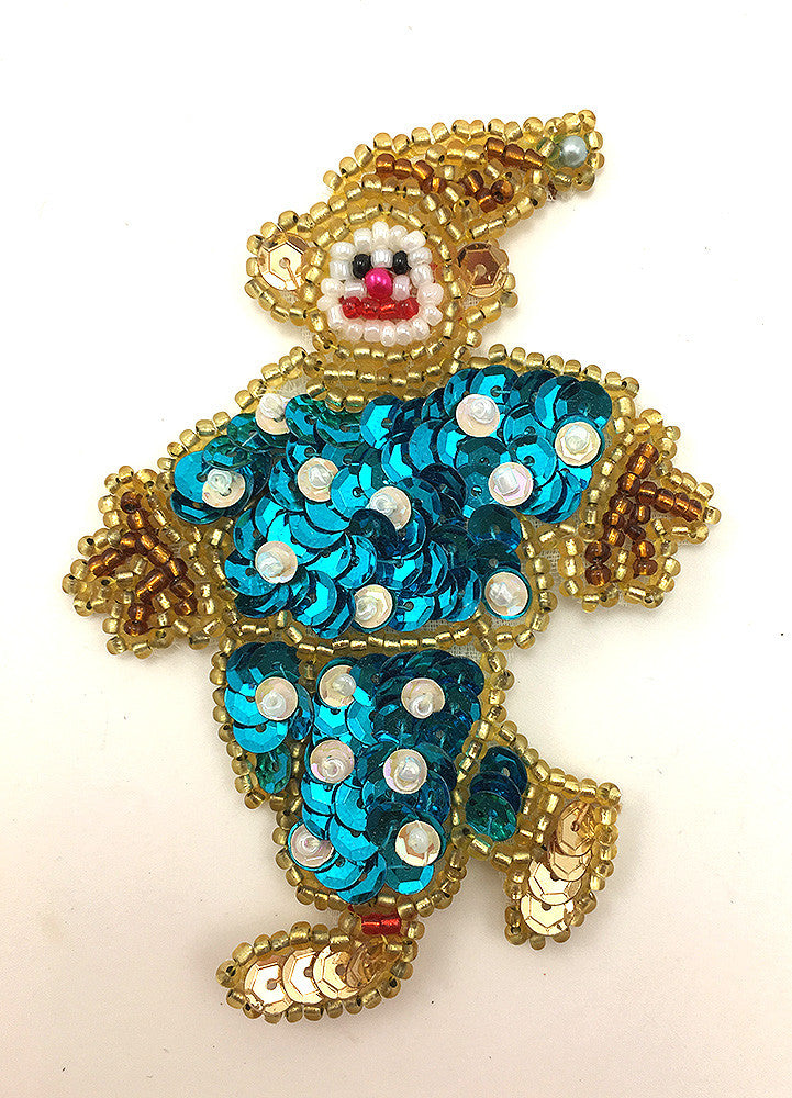 "Clown with Turquoise Gold and White Sequins and Beads  3.5"" x 2.5"""