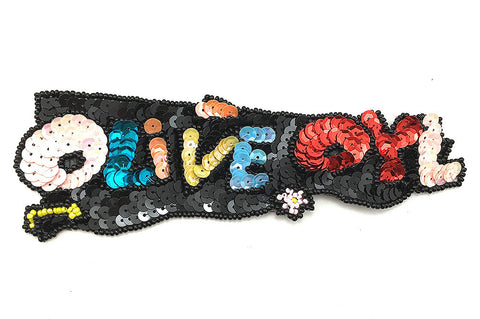 "Olive Oil Word with Multi-Color Sequins and Beads  7"" x 2"""