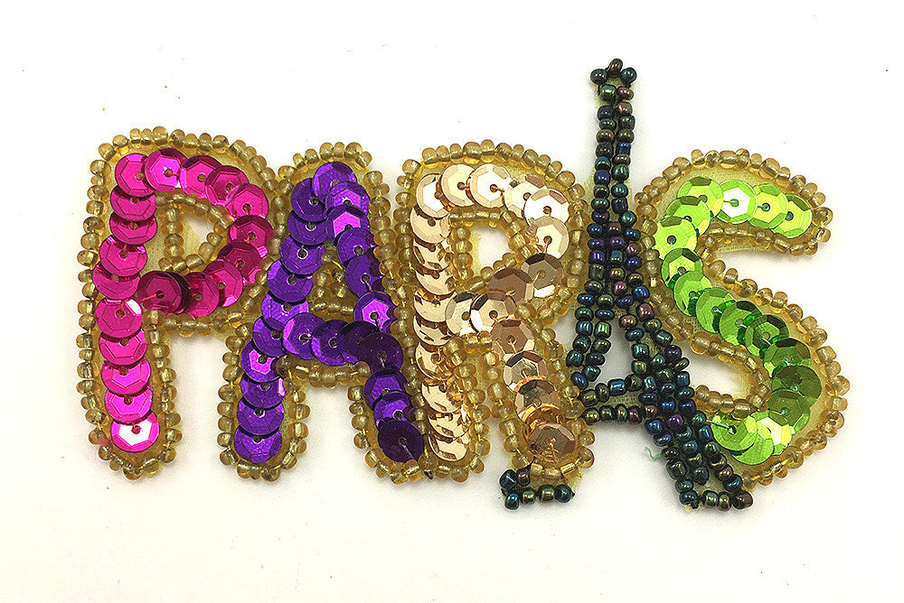 "Paris Word with Multi-Color Sequins and Beads, Sizes 3.5"" x 2.25"" or 7"" x 4.5"""