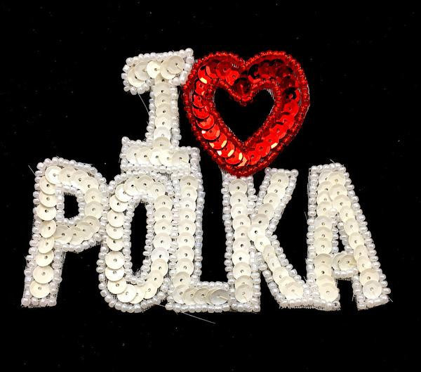 "I heart (Love) Polka Word Red and White Sequins and Beads 4"" x 3"""