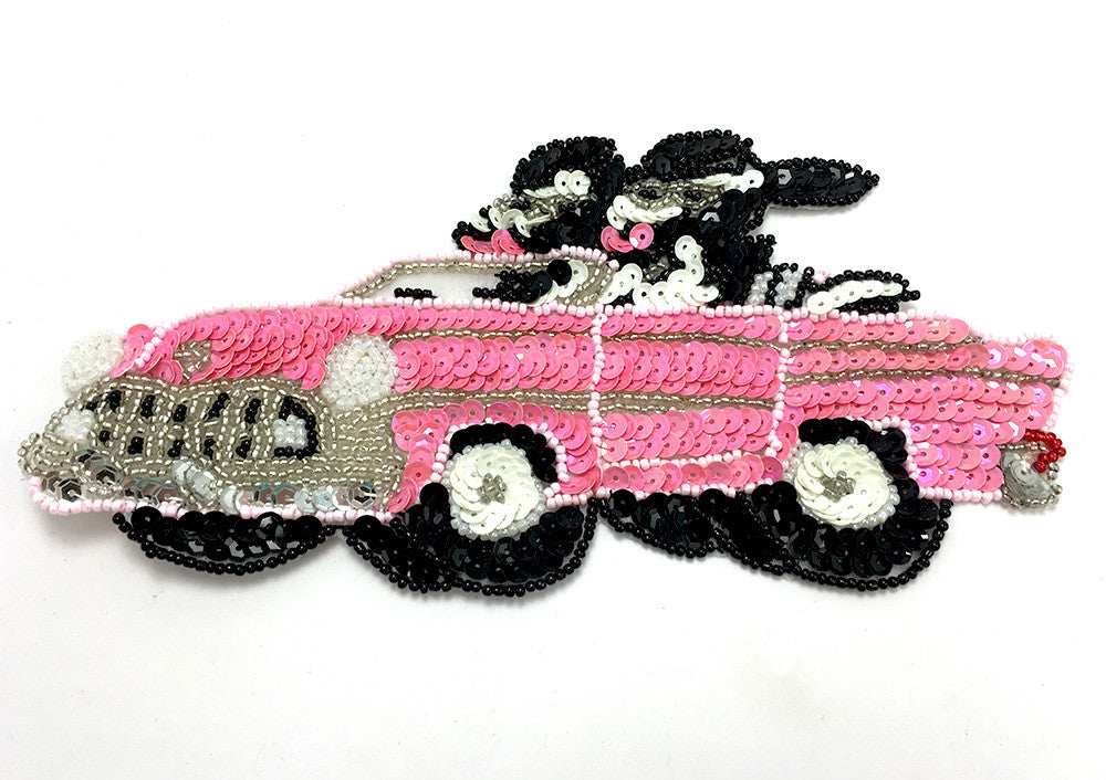 "Car Classic Convertible with Driving Cows, Pink/Black/White/Silver Sequins and Beads  8"" x 4"""