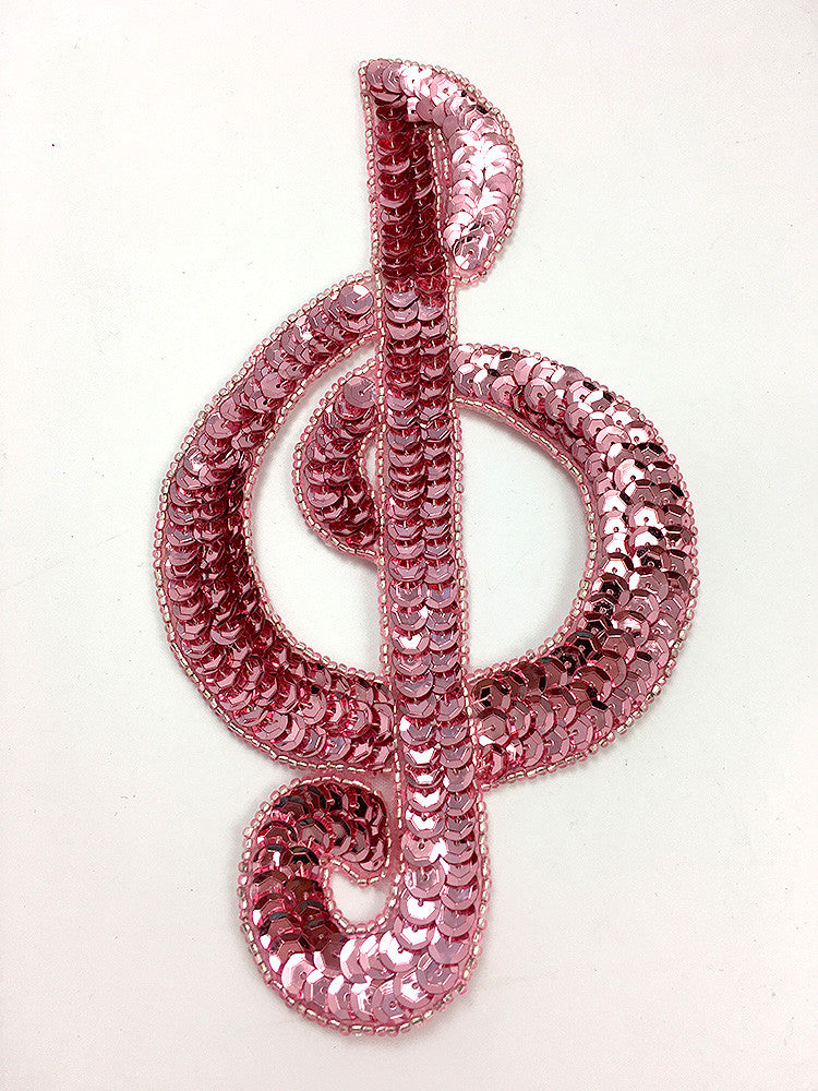 "Treble Clef Choice of Color Sequin Beaded 7"" x 3.75"""