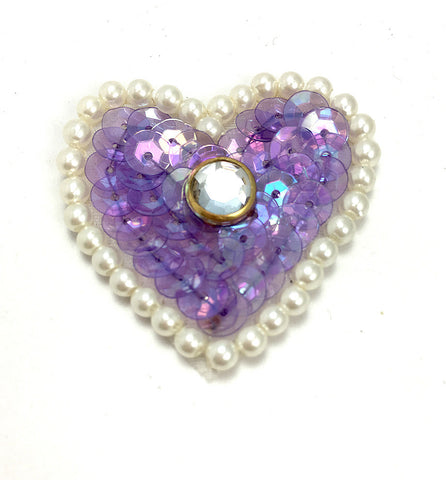 Heart w/ White Pearl Beads and Set Clear Stone Center  in 3 color variants, 1.5""