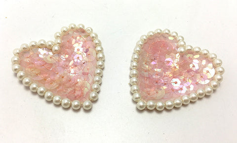 Heart pair with Iridescent Pink Sequins and Pearl White Beads  1.5""