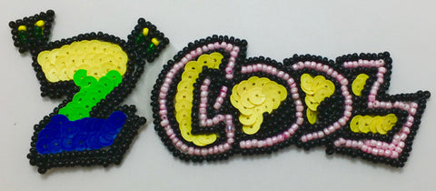 "TOO (2) COOL Word Patch with Sequins and Beads Multi-Colored 2"" x 5.5"""