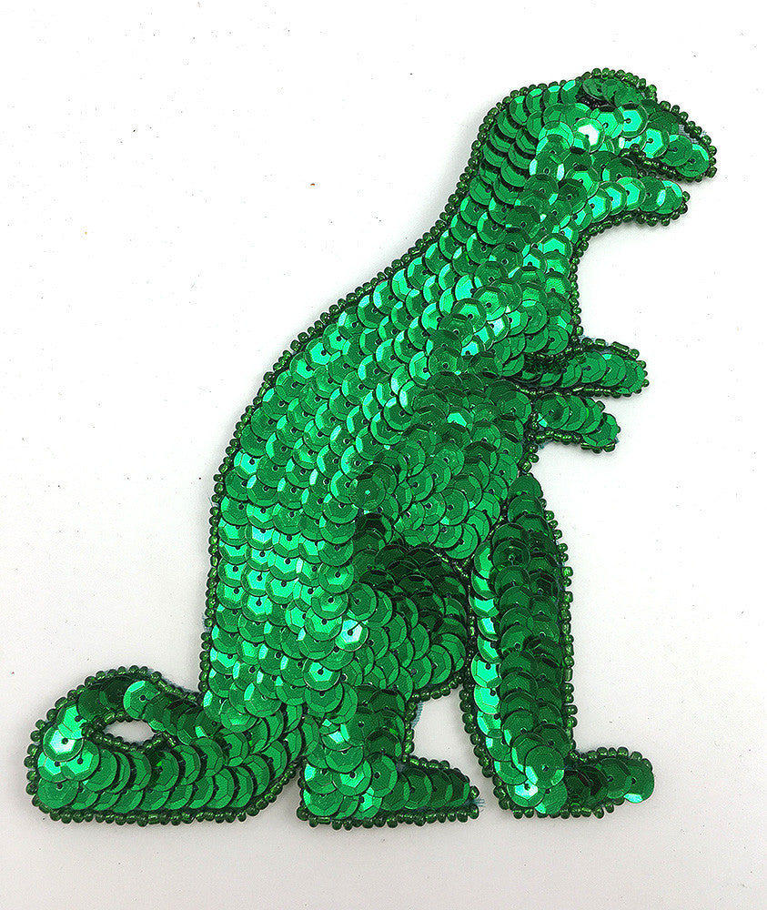 "Dinosaur T Rex Choice of Green or Purple Sequins and Beads  5.5"" x 4.5"""