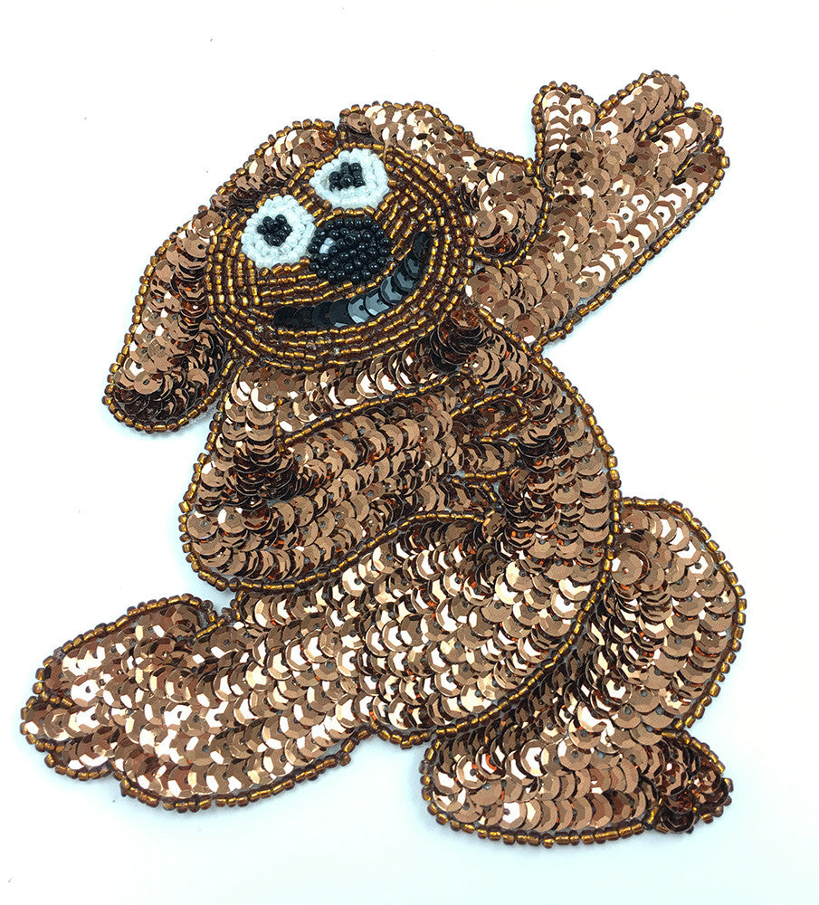 "Dog with Brown, Black and White Sequins and Beads  5"" x 5"""