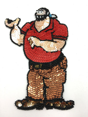 "Cartoon Man with Red Shirt Multi-Color Sequins and Beads 7"" x 4.5"""