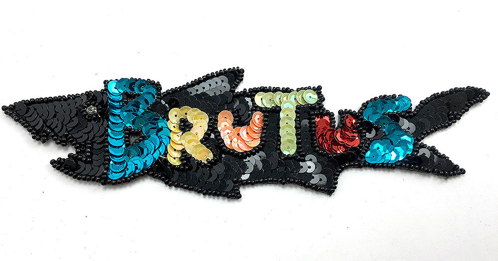 "Brutus Word with Multi-Color Sequins and Beads  8"" x 2.25"""