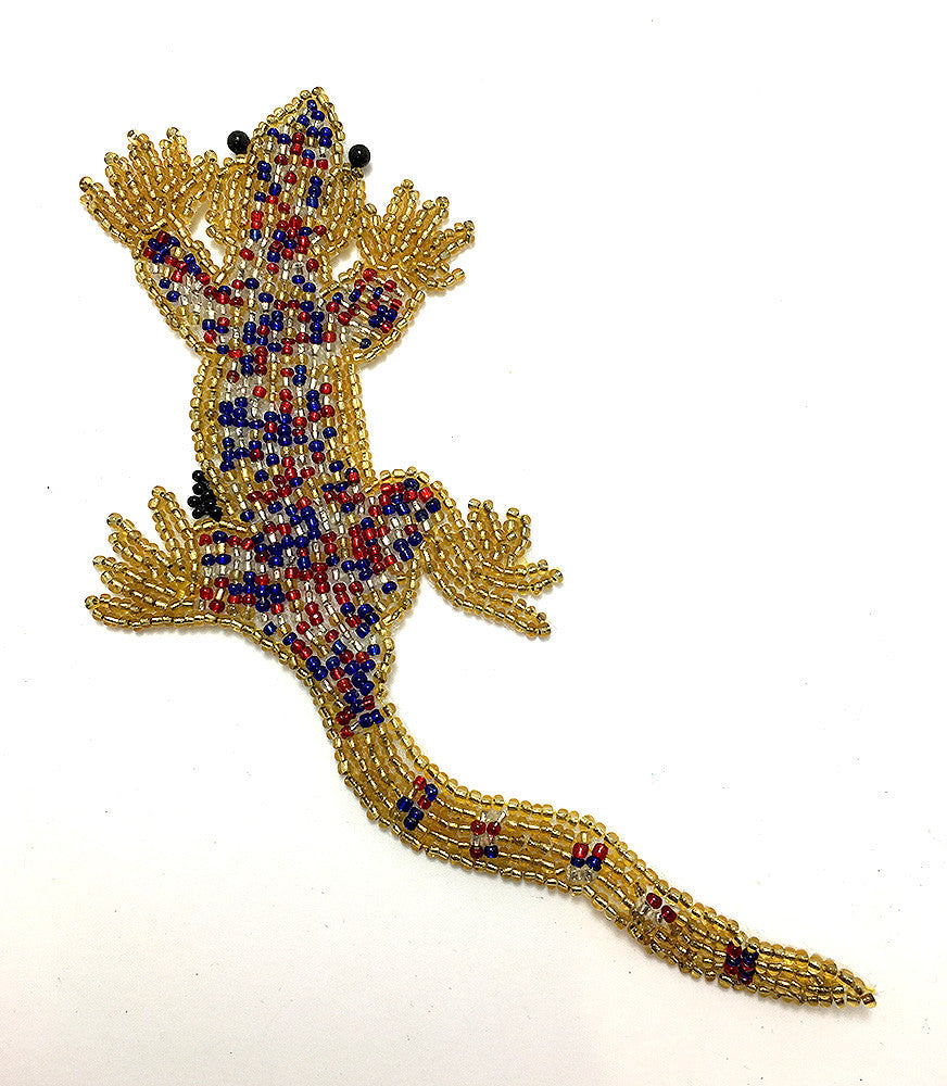 "Gekko with Gold, Blue, Red and Silver Beads  7"" x 3"""