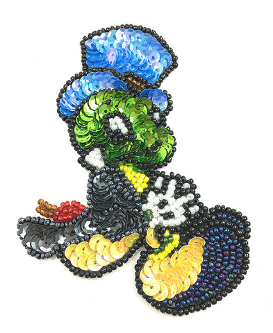 "Cartoon Cricket with Multi-Color Sequins and Beads  4"" x 2.5"""