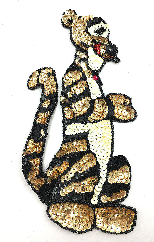 "Cartoon Tiger with Gold, Black and White Sequins and Beads  7.25"" x 4"""