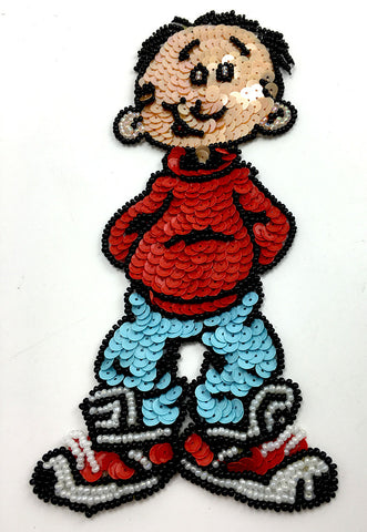 "Cartoon Kid with Tennis Shoes and Red Shirt  Multi-Color Sequins and Beads  7"" x 2.75"""