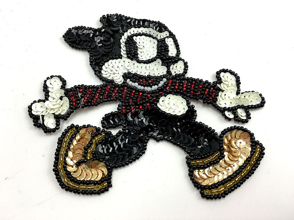 "Vintage Cartoon Character Running with Gold Shoes with Multi-Color Sequins and Beads 5"" x 4.5"""