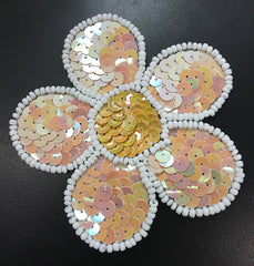 Flower with Beige Sequins, White Beads and Choice of Sequin Color Center  3.75""