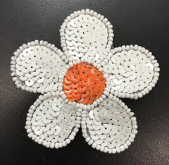 White Flower with Choice of Color Center, Sequin Beaded  2.5""