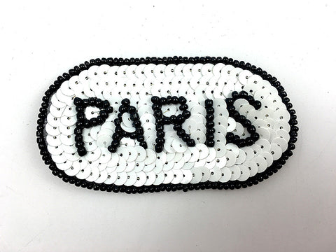 "Paris Patch with Black and White Sequins and Beads 3.25"" x 1.75"""