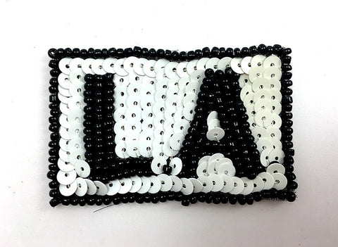"L.A. Los Angeles with Black and White Sequins and Beads  2.25"" x 1.5"""