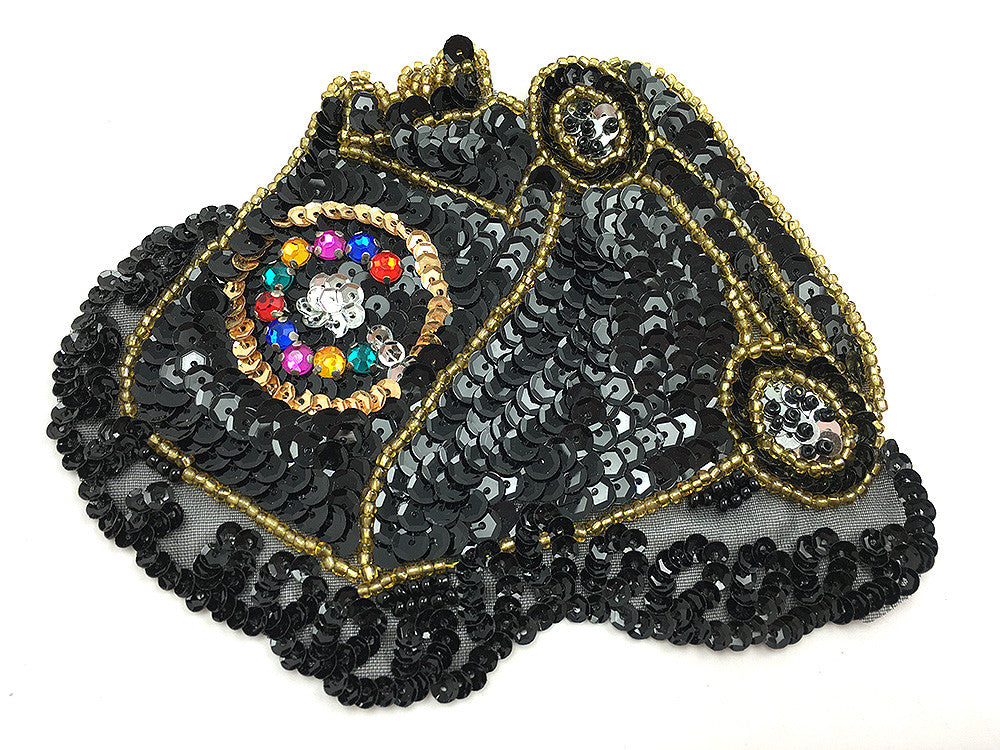 "Vintage Telephone Off the Hook, Black, Gold, Multi-Color Sequin Beaded  5.25"" x 4.25"""