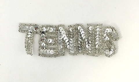 "Tennis Word with Silver Sequins and Beads  4.25"" x 1.25"""
