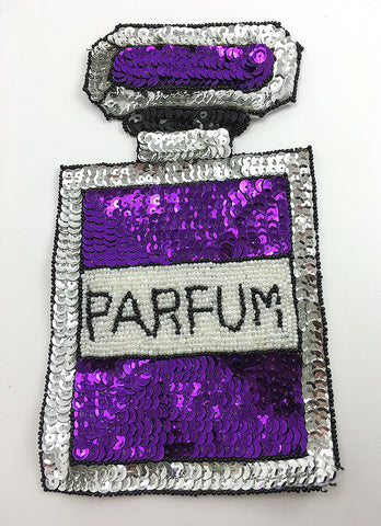 "French Parfum Bottle with Purple, Silver, Black, White Sequins and Beads  9"" x 5"""