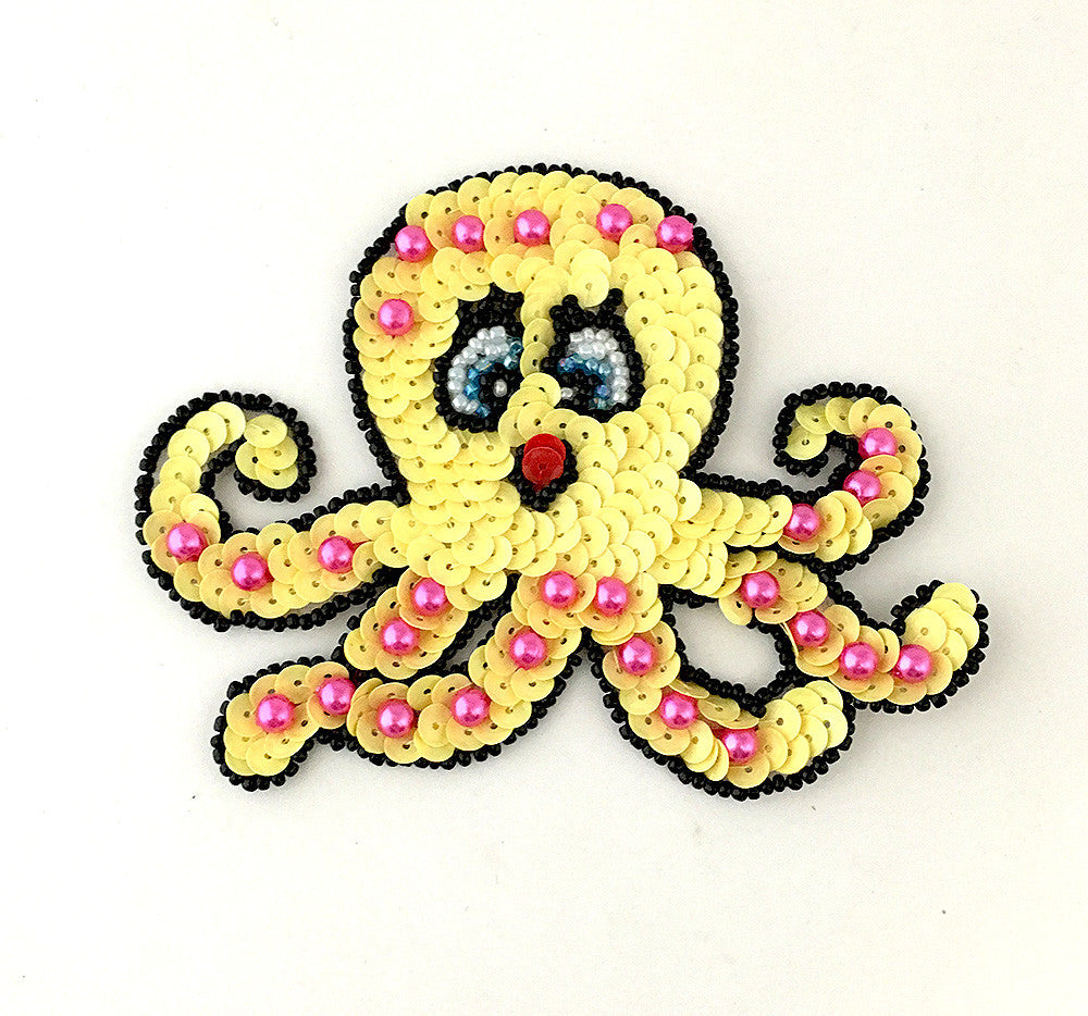 "Octopus with Yellow Sequins, Pink and Black Beads 4"" x 3"""