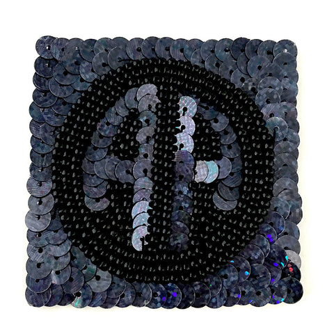 AA Emblem with Moonlight Laser Spotlight Sequins and Black Beads