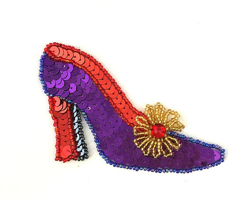 "Woman's Shoe with Purple, Red and Gold Sequins and Beads, Sizes  3.5"" x 2.5"" or 1.5"" x 1.5"""