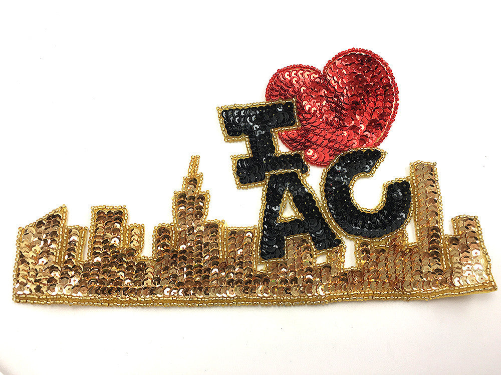 "I Heart Love Atlantic City with Skyline, Gold, Black and Red Sequin Beaded  9"" x 5"""
