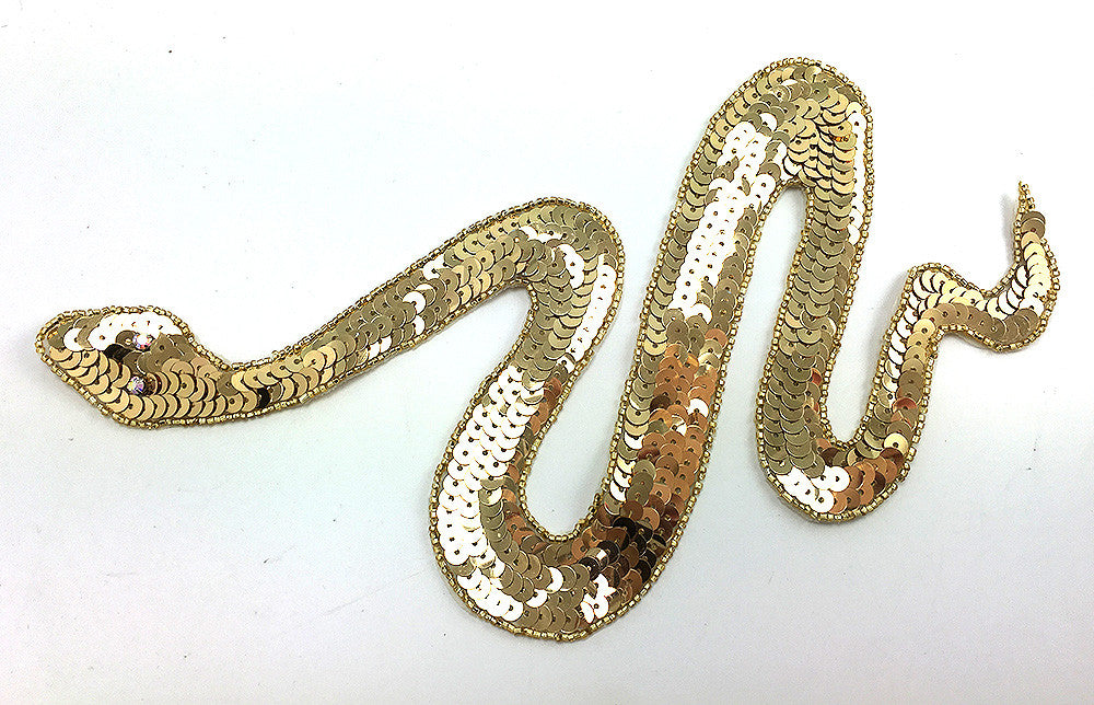 "Snake with Gold Sequins and Beads, Rhinestone Eyes 11"" x 5"""