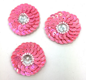 "Circle Dot Set of Three Pink Sequin Beaded with Center Stone  1.25"" each"