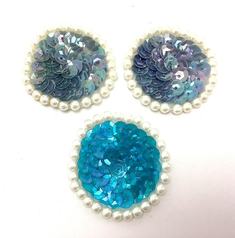 "Circle Dots Assorted Colors Blue/Turquoise Sequins with Pearls  1.5"" each"