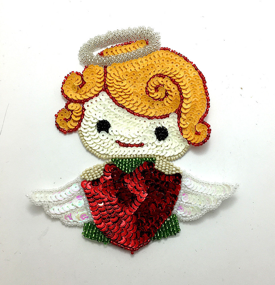 "Christmas Angel Holding Red Heart, Sequin Beaded  6"" x 5"""