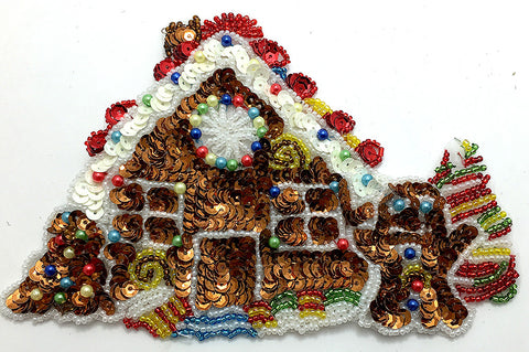 "Gingerbread House, Sequin Beaded 7"" x 4.5"""