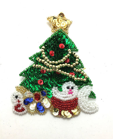 "Christmas Tree with Presents, Sequin Beaded 4"" x 3"""