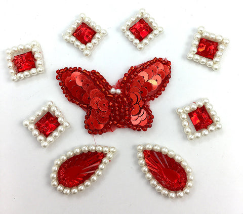 "Butterfly, Teardrop and Squares Assortment, Red and White Sequin Beaded 1/2"" - 2"""