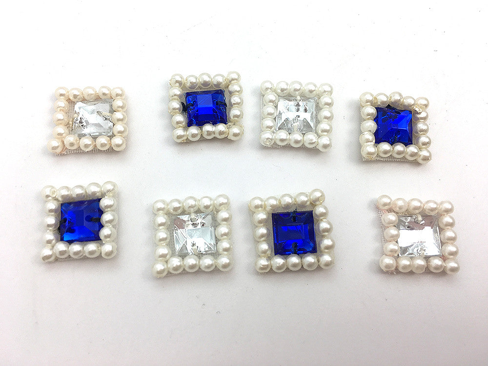 "Square Assortment with Blue, Clear Gems and White Pearls  .5"" (each)"