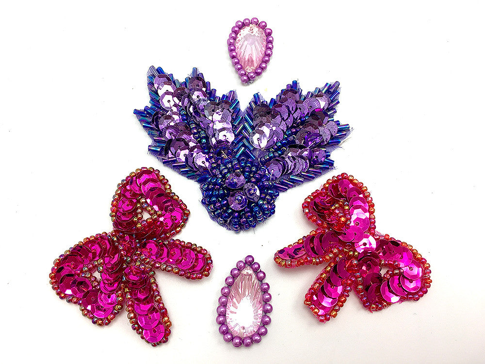 Designer Motif and Bow Assortment, Purples, Fuchsias, Pinks Sequin Beaded