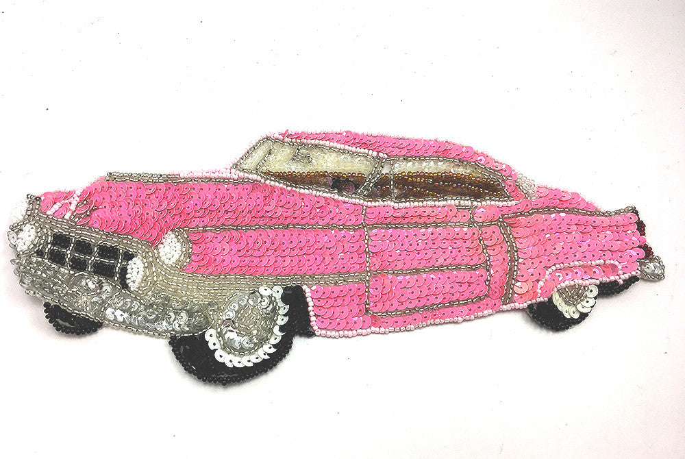 "Classic Car, Pink/Black/White/Silver Sequin Beaded  10.5"" x 4.5"""