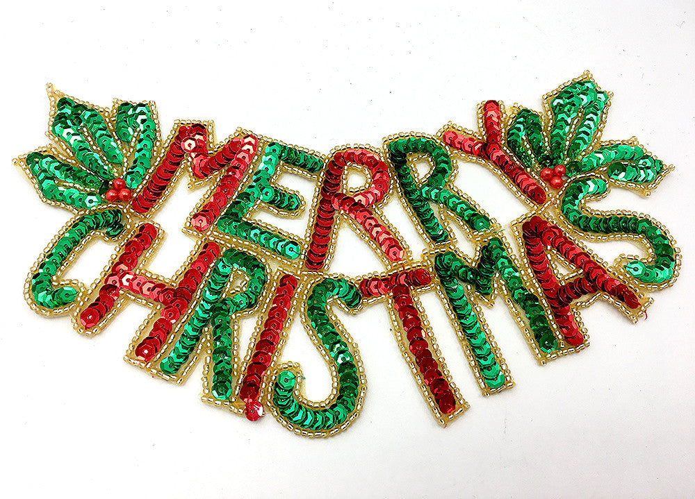 "Merry Christmas with Holly, Red, Green and Gold Sequin Beaded   8"" x 3.5"""