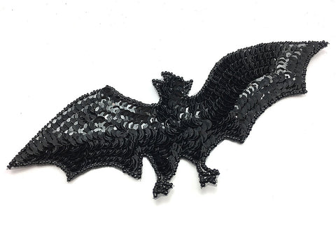 "Bat with Black Sequins and Beads  8"" x 3"""