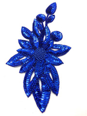 "Designer Motif Flower with Choice of Blue or Red Sequins and Beads  11.5"" x 6.5"""