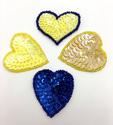 "Heart Assortment, Yellows and Blues Sequin Beaded 1.5"" each"
