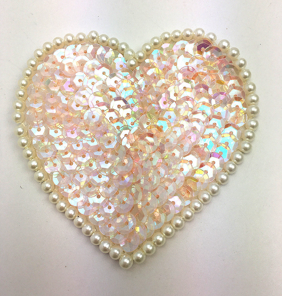 Heart with Iridescent Sequins and White Pearls 3""
