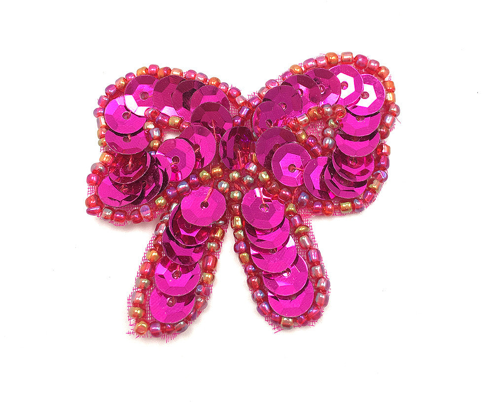 "Bow with Fuchsia Sequins and Beads 1.75"" x 1.5"""