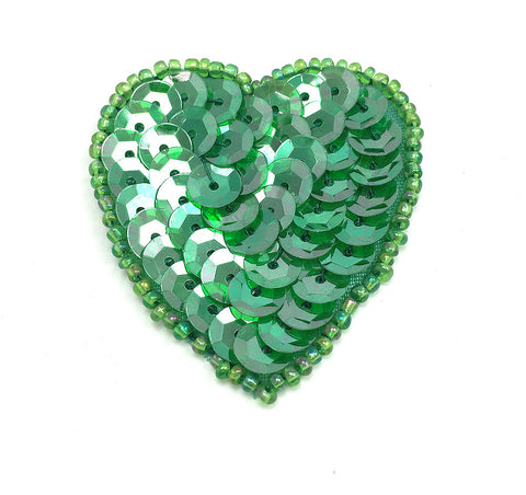 Heart in 8 Color Variants Sequins & Beaded 1.5""