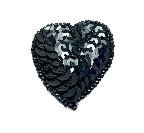 Heart w/ 7 color variants of Sequin Beaded 1.5""