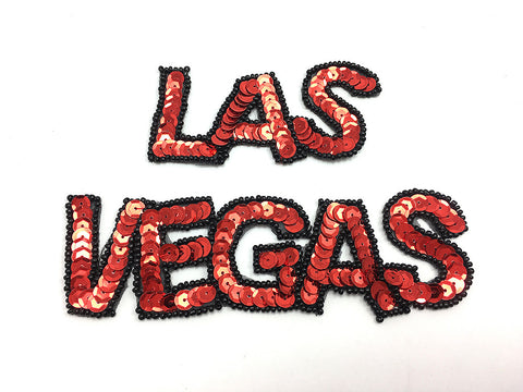 "Las Vegas Two Piece Word with Red Sequins and Black Beads, Sizes 6.5""/3.5"" x 1.5"" or 4""/2"" x 1"""